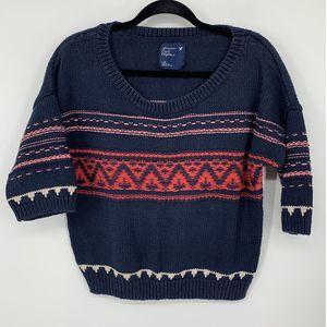 AEO blue knit striped sweater L